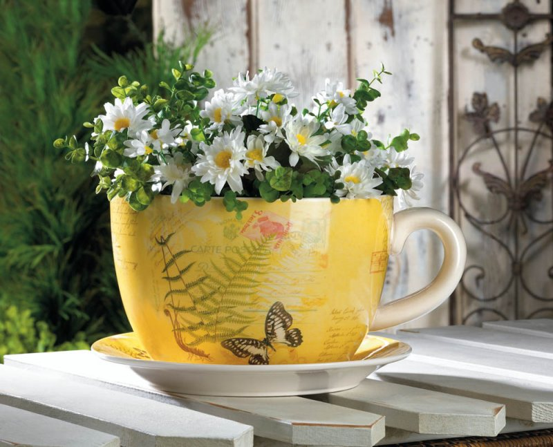 Image 0 of Hugh Yellow Butterfly Theme Teacup & Saucer Planter Drain Hole Bottom of Teacup