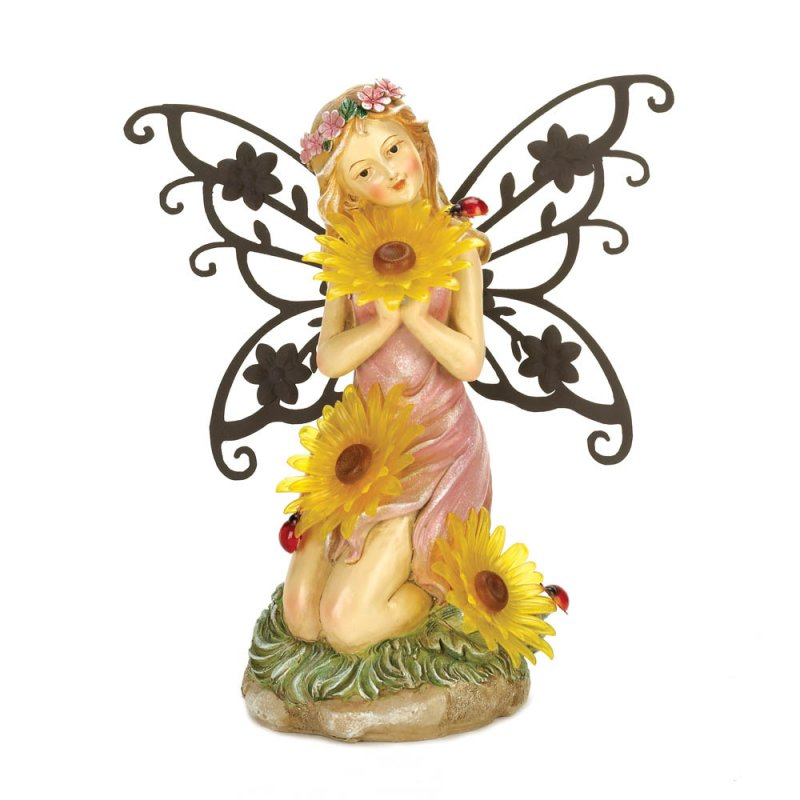 Image 1 of Pretty Garden Fairy Dressed in Pink Holding 3 Solar Yellow Daisy Blooms