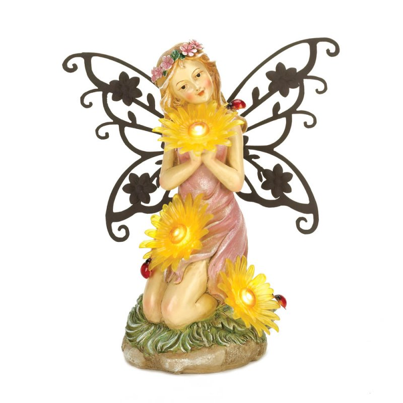 Image 2 of Pretty Garden Fairy Dressed in Pink Holding 3 Solar Yellow Daisy Blooms