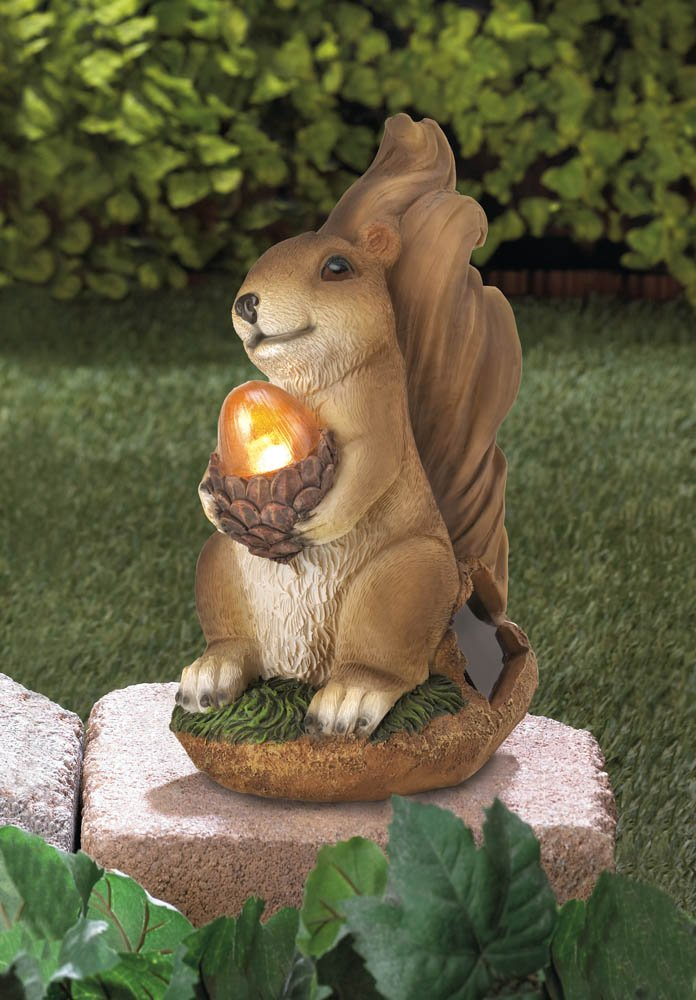 Image 0 of Garden Squirrel Figurine Holding Solar Acorn Garden Decor