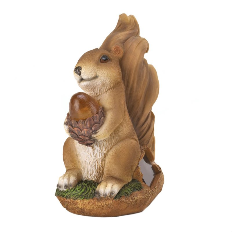 Image 1 of Garden Squirrel Figurine Holding Solar Acorn Garden Decor