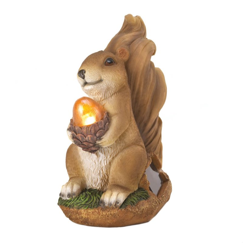 Image 2 of Garden Squirrel Figurine Holding Solar Acorn Garden Decor
