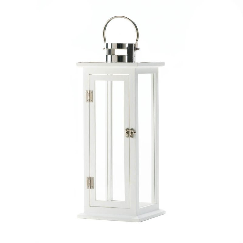 Image 0 of Tall Sleek Contemporary Highland White Wooden Candle Lantern Silver Hardware