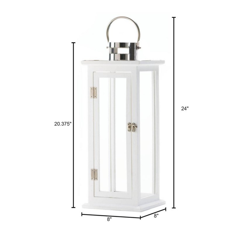 Image 1 of Tall Sleek Contemporary Highland White Wooden Candle Lantern Silver Hardware