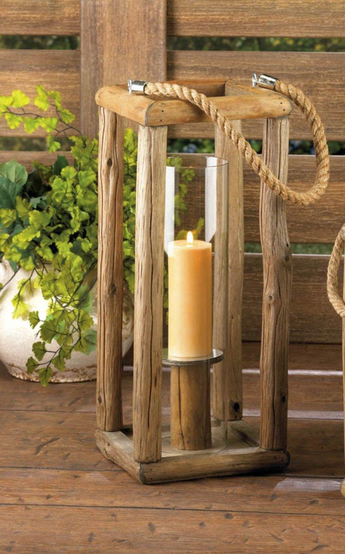 Image 0 of Tall Sylvan Rustic Wooden Pillar Candle Lantern Glass Hurricane Candle Holder