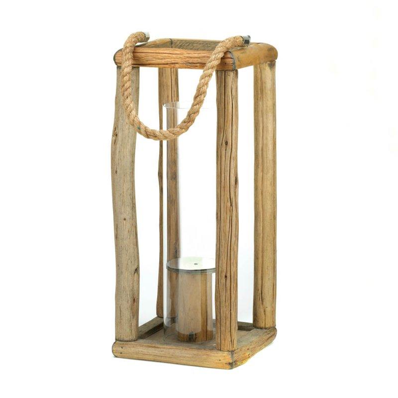 Image 1 of Tall Sylvan Rustic Wooden Pillar Candle Lantern Glass Hurricane Candle Holder