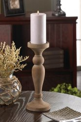 Artisan Inspired Turned Wood Pillar or Votive Candle Holder