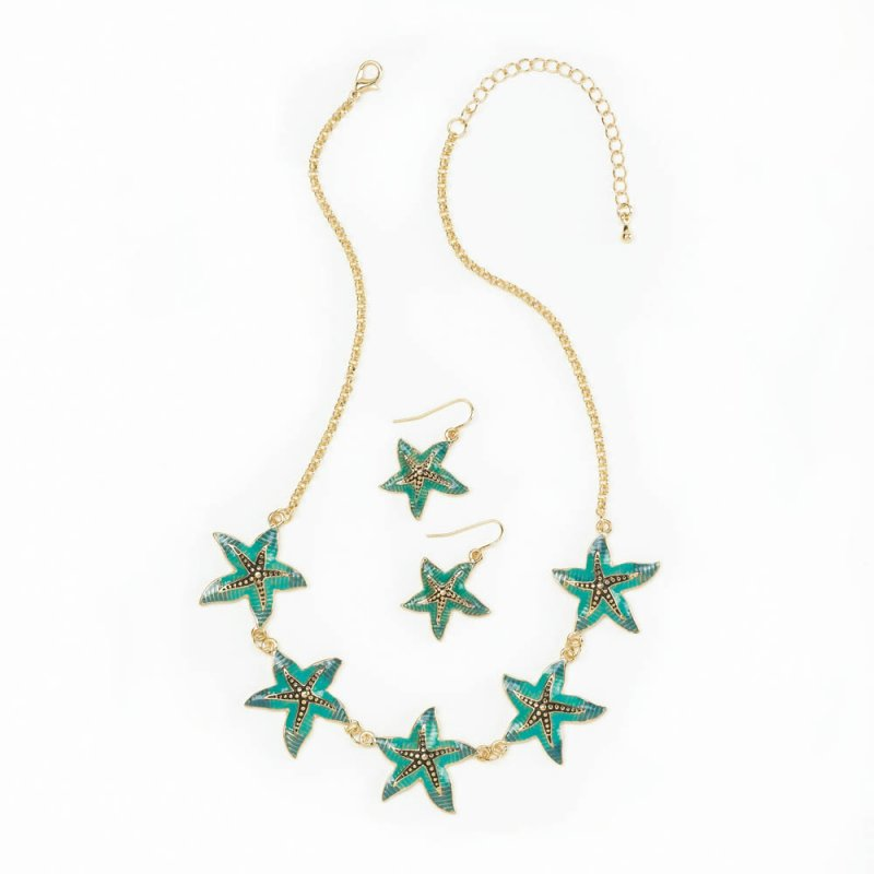 Image 1 of Five Green Starfish  on Gold Chain Necklace & Earring Jewelry Set