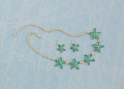 Five Green Starfish  on Gold Chain Necklace & Earring Jewelry Set