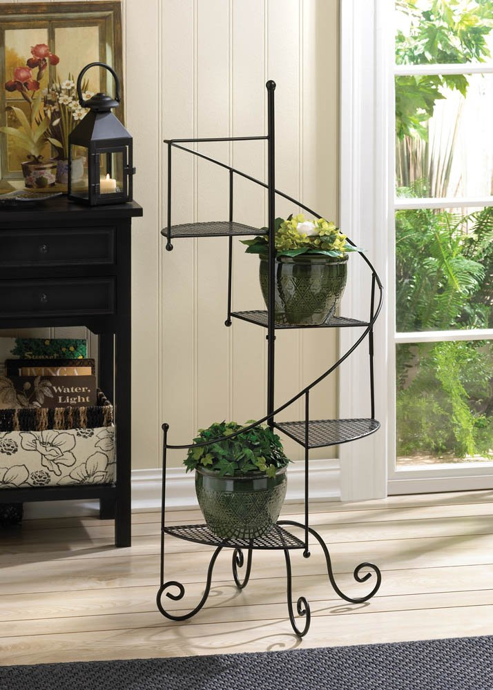 Image 0 of Spiral Staircase Plant Stand Mesh Platform Curved Banister Holds 4 Potted Plants