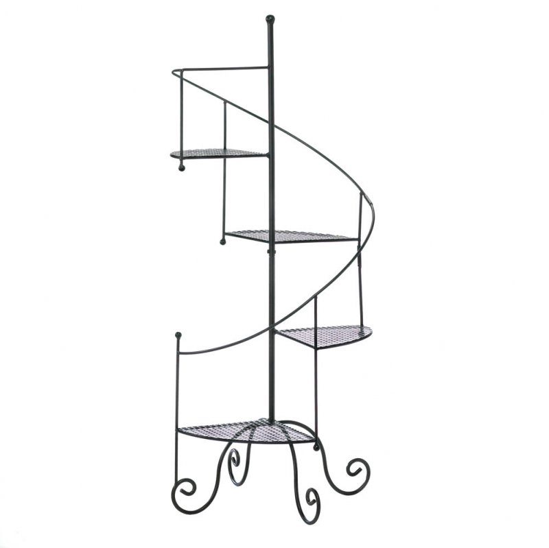 Image 1 of Spiral Staircase Plant Stand Mesh Platform Curved Banister Holds 4 Potted Plants