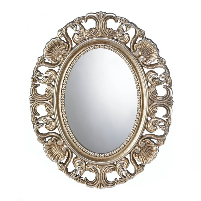Image 0 of Gilded Golden Finish Oval Wall Mirror Perfect for Entryway, Bedroom, Bathroom