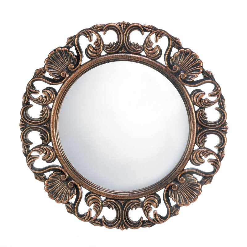 Image 0 of Heirloom Style Ornate Round Wooden Wall Mirror Antique Finish