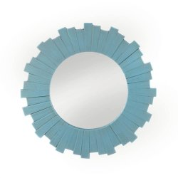 Blue Sunburst Decorative Wall Mirror