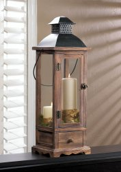 Large Mount Vernon Wooden Candle Lantern with Pullout  Drawer Metal Top