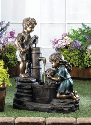 Children Giving Pup a Bath in Water Pump Doggy Wash Garden Fountain