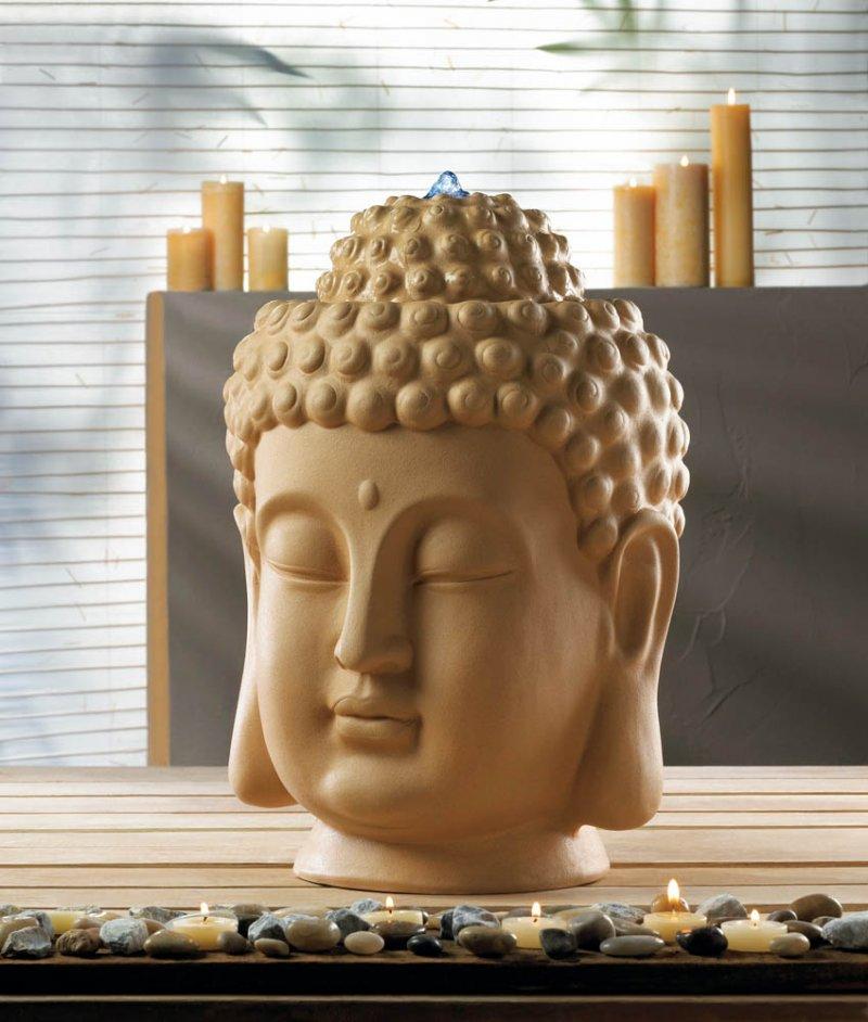 Image 0 of Calming Zen Buddha Head Tabletop Indoor Fountain