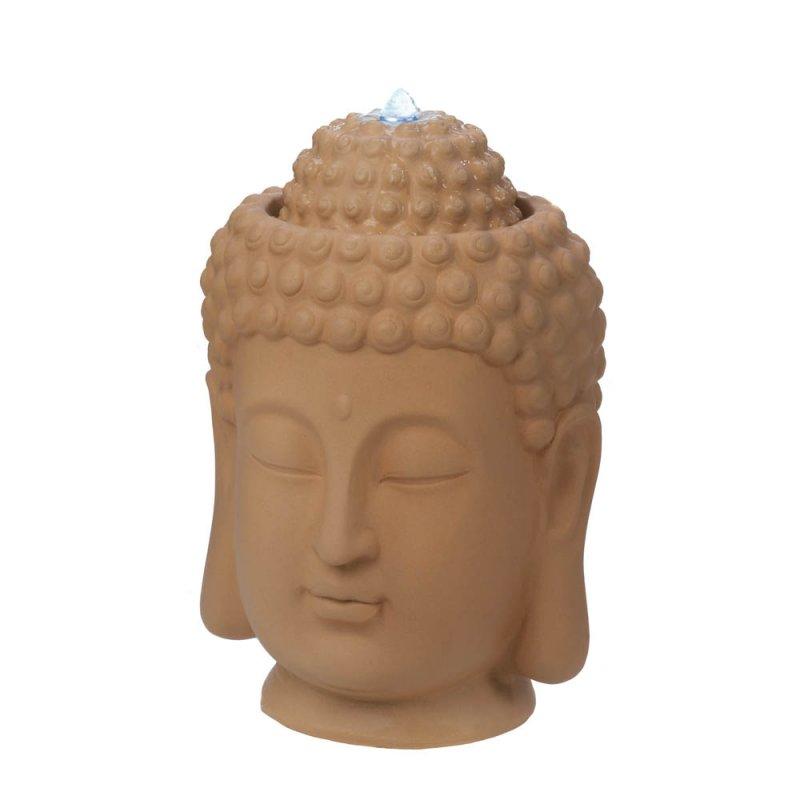 Image 1 of Calming Zen Buddha Head Tabletop Indoor Fountain