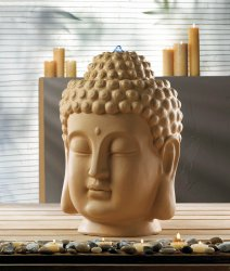 Calming Zen Buddha Head Tabletop Indoor Fountain