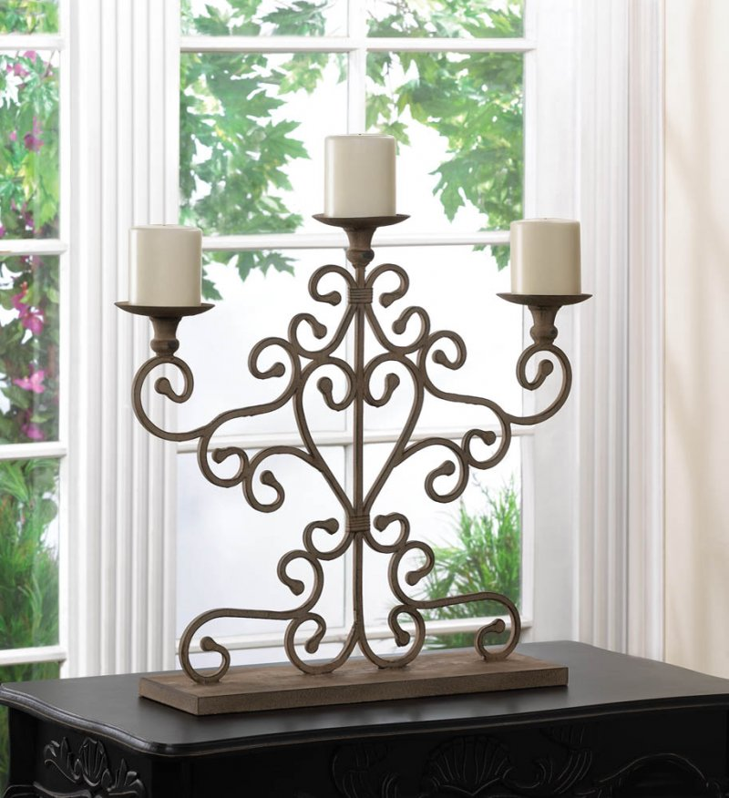 Image 0 of Shabby Ivory Antiqued Scrollwork Candelabra Centerpiece Over 20 inches High