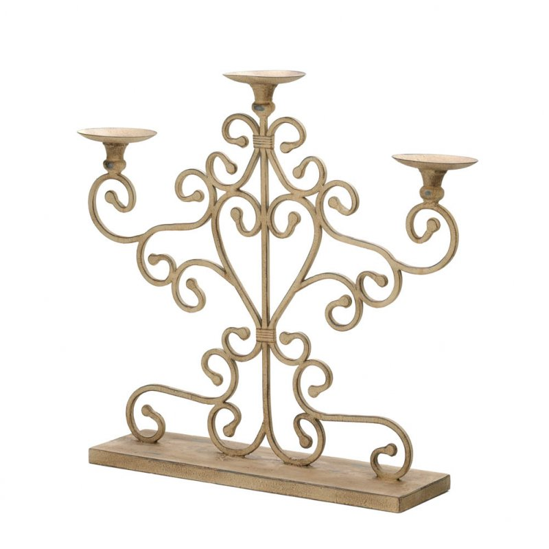 Image 1 of Shabby Ivory Antiqued Scrollwork Candelabra Centerpiece Over 20 inches High