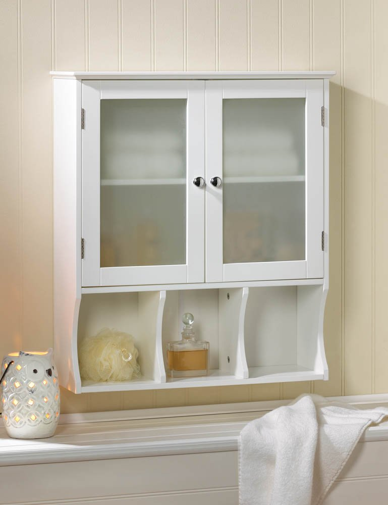 Aspen contemporary white bath kitchen storage wall cabinet frosted glass doors for Contemporary bathroom wall cabinets