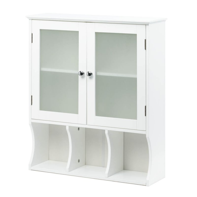 Image 1 of Aspen Contemporary White Bath, Kitchen Storage Wall Cabinet Frosted Glass Doors