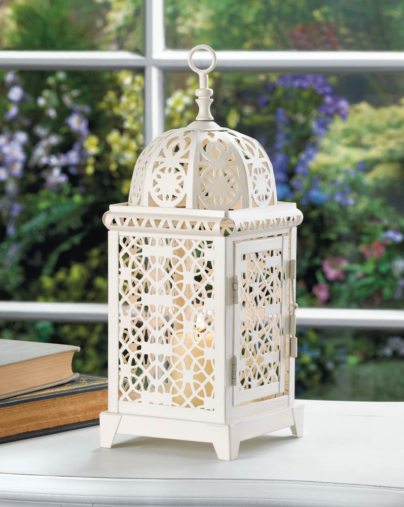 Image 0 of White Moroccan Style Aura Pillar Candle Lantern Use Indoors or Outdoors