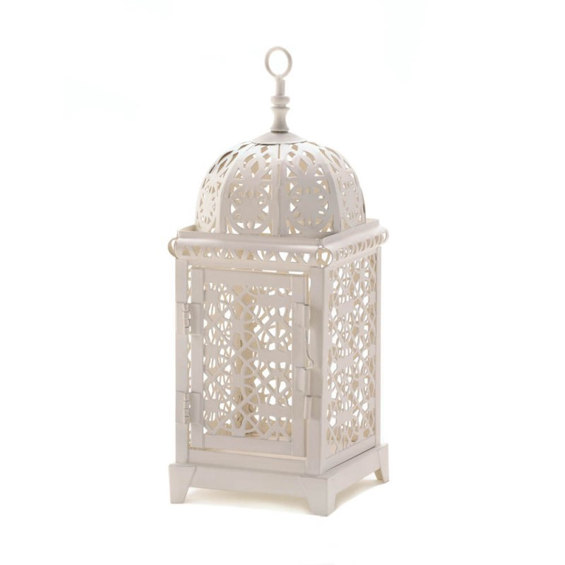 Image 1 of White Moroccan Style Aura Pillar Candle Lantern Use Indoors or Outdoors
