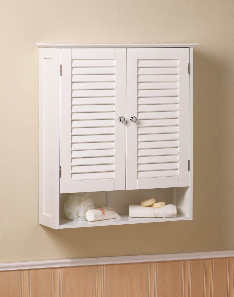 Image 0 of White Nantucket Bathroom Wall Cabinet Shuttered Doors, Display Shelf