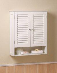 White Nantucket Bathroom Wall Cabinet Shuttered Doors, Display Shelf