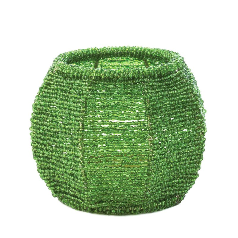Image 0 of Emerald Green Beaded Votive Candle Holder Use Indoors or Outdoors