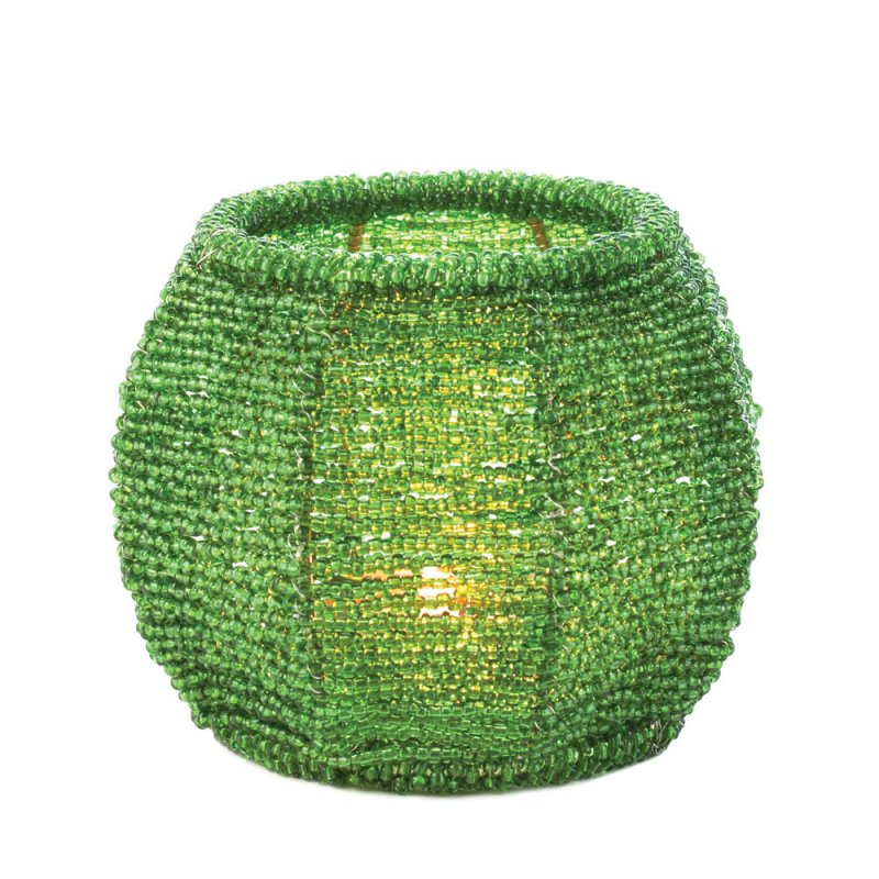 Image 1 of Emerald Green Beaded Votive Candle Holder Use Indoors or Outdoors