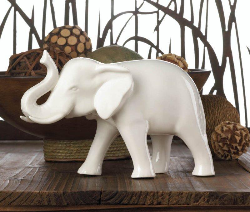 Image 1 of Sleek White Ceramic Elephant Figurine with Trunk Up