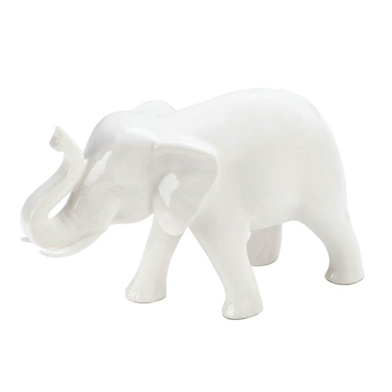 Image 0 of Sleek White Ceramic Elephant Figurine with Trunk Up