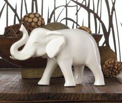 Sleek White Ceramic Elephant Figurine with Trunk Up