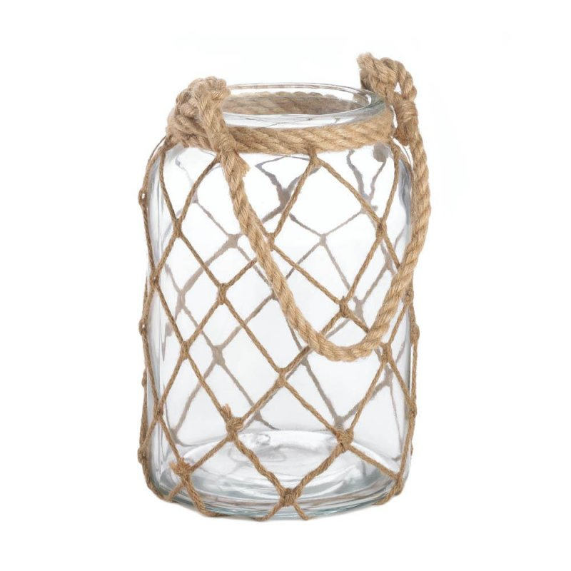 Image 0 of Large Clear Glass Candle Lantern Wrapped in Fisherman Net and Rope Handle
