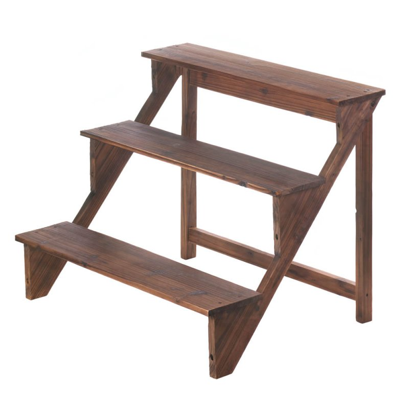 Image 0 of Three Tiered Wooded Plant Stand or Charming Display Shelf Stand