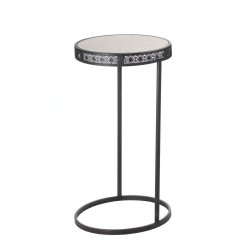 Black Metal Half Moon Accent Table with Glass Top