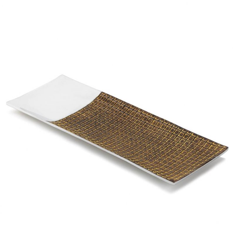 Image 1 of High Polished Silver & Rich Brown Glaze Ceramic Tiles Intermix Long Dish Tray