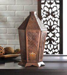 Byzantine Pewter All Over Cutouts Aged Patina Pillar Candle Lantern