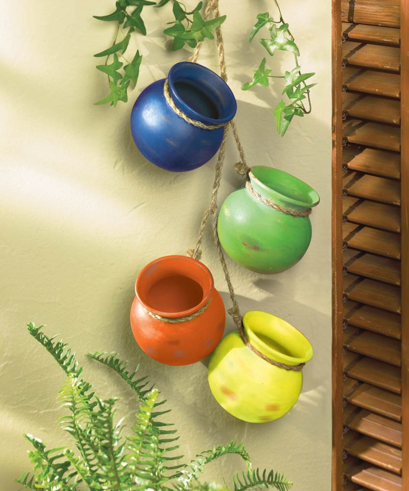 Image 0 of Fiesta Colorful Hanging Terre Cotta Pots Use Indoors or Outdoors