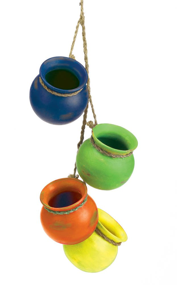 Image 1 of Fiesta Colorful Hanging Terre Cotta Pots Use Indoors or Outdoors