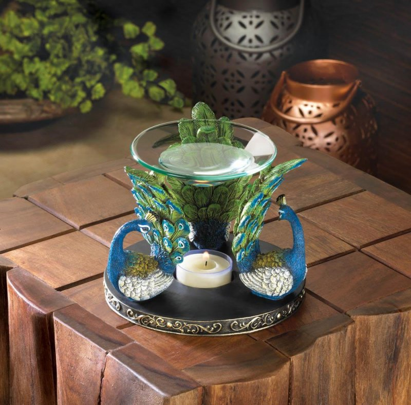 Image 0 of Gorgeous Blue & Green Peacock Plume Oil Warmer