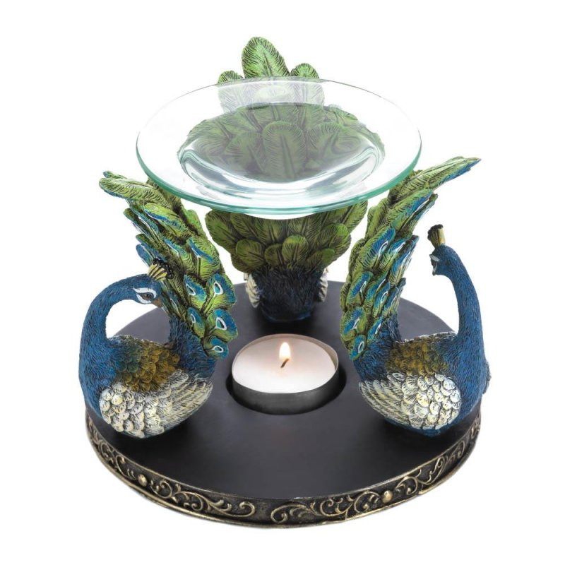 Image 1 of Gorgeous Blue & Green Peacock Plume Oil Warmer