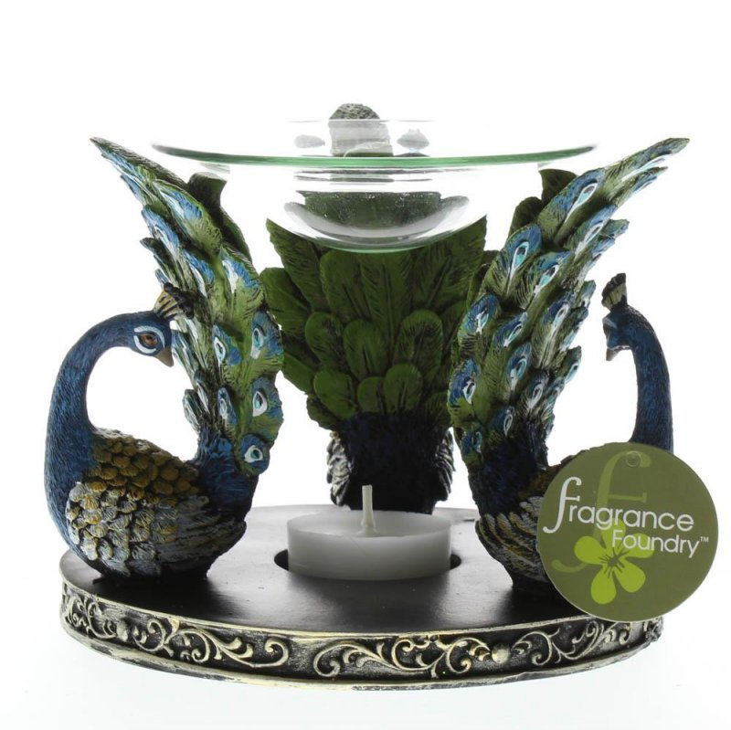 Image 2 of Gorgeous Blue & Green Peacock Plume Oil Warmer