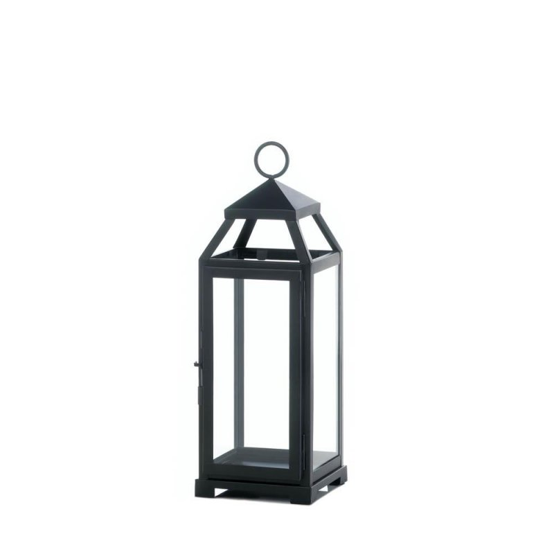 Image 0 of Black Contemporary Lean & Sleek Medium Pillar Candle Lantern