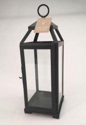 Black Contemporary Lean & Sleek Medium Pillar Candle Lantern
