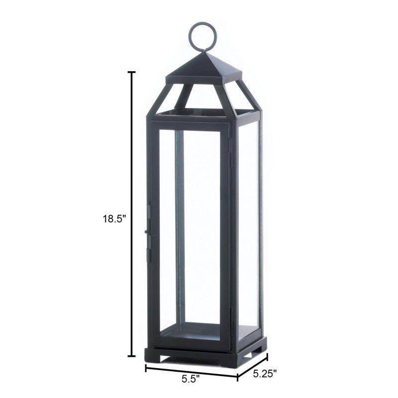 Image 1 of Black Contemporary Lean & Sleek Large Pillar Candle Lantern