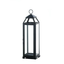 Black Contemporary Lean & Sleek Large Pillar Candle Lantern